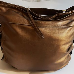 Zoe Leather Hobo Handbag, Copper Metallic